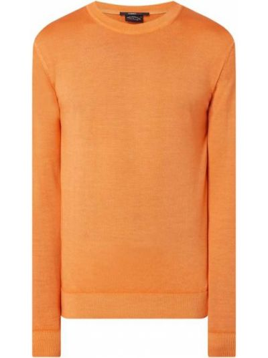 Prążkowany pomarańczowy sweter wełniany Paul & Shark