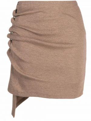 Коричневая асимметричная юбка Paco Rabanne