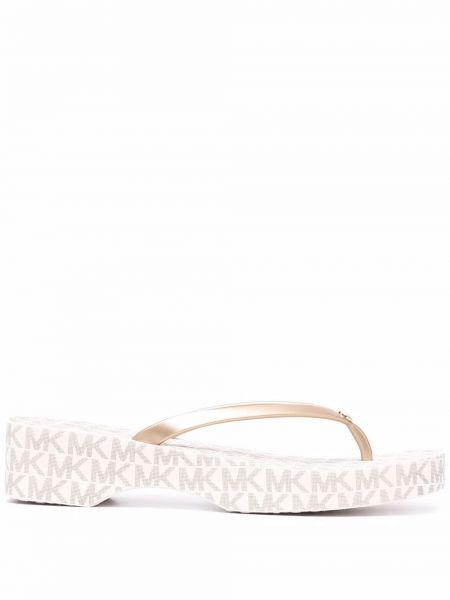 Белые резиновые шлепанцы Michael Michael Kors