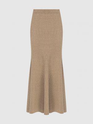 Шерстяная юбка макси - бежевая Nanushka