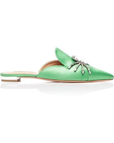 Зеленые кожаные балетки на каблуке Aquazzura
