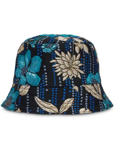 Czarny kapelusz z jedwabiu Prada