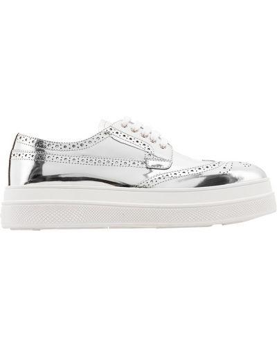 Серебряные кожаные ботинки с подкладкой Prada