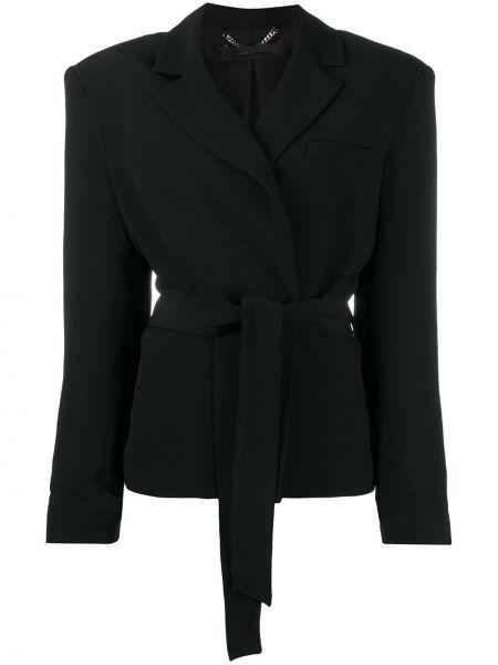 Черный удлиненный пиджак с поясом с лацканами Federica Tosi