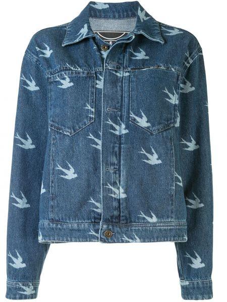 Хлопковая синяя джинсовая юбка на пуговицах с воротником Mcq Alexander Mcqueen