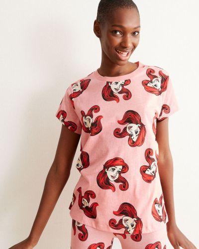 Różowy t-shirt bawełniany krótki rękaw Undiz