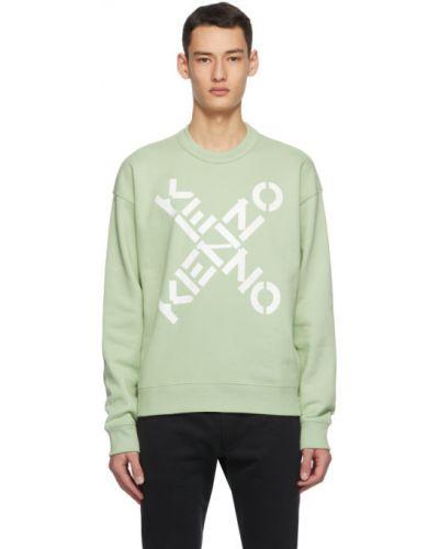 Bawełna bawełna zielony bluza z kołnierzem Kenzo