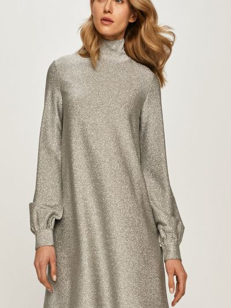 Расклешенное серое платье с длинными рукавами Max&co