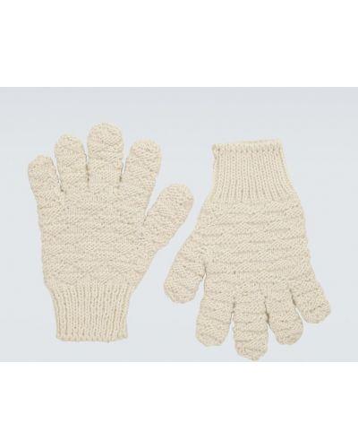 Prążkowane białe rękawiczki wełniane Bottega Veneta