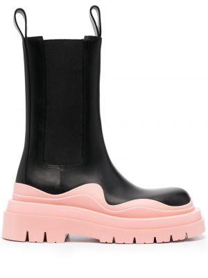Черные кожаные ботинки круглые Bottega Veneta