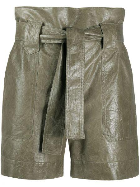 Зеленые кожаные шорты с карманами Drome