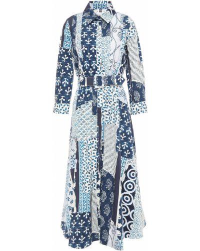 Хлопковое синее платье миди с поясом Oscar De La Renta