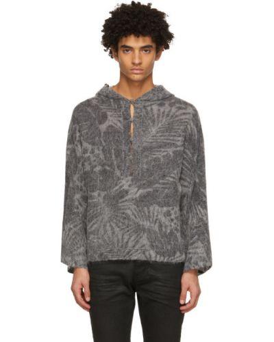 Czarna bluza długa z długimi rękawami z wiskozy Saint Laurent