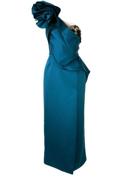 Синее вечернее платье прозрачное на одно плечо Marchesa