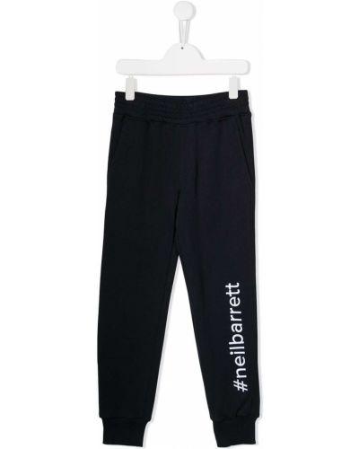 Спортивные синие спортивные брюки с вышивкой с поясом Neil Barrett Kids