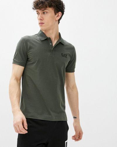 Зеленое поло с короткими рукавами Ea7