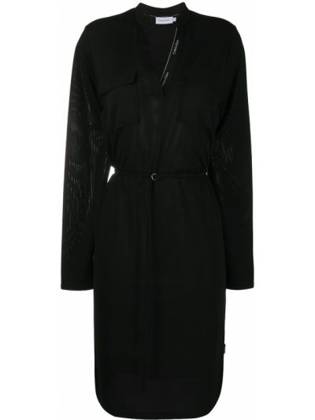 Свободное с рукавами черное платье макси Calvin Klein