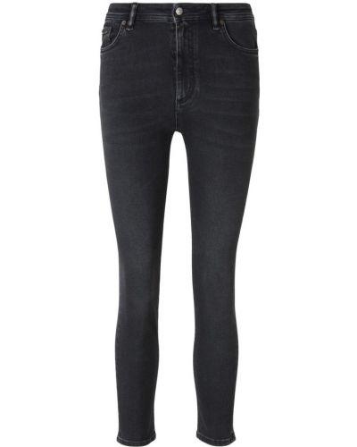 Czarne jeansy z wysokim stanem skorzane Acne Studios