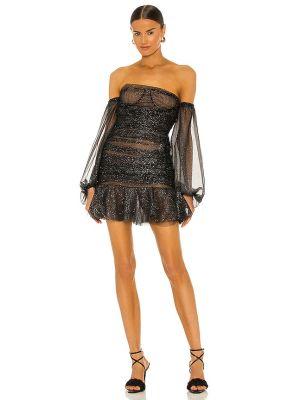 Brokatowa czarna sukienka mini z siateczką Bronx And Banco