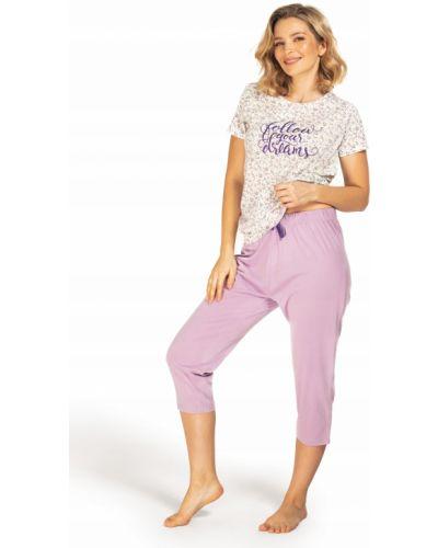 Fioletowa piżama bawełniana krótki rękaw Envie