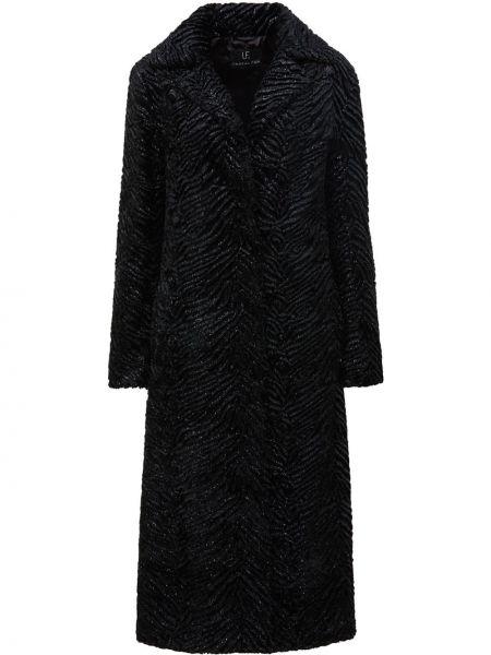 Черное пальто с воротником с подкладкой Unreal Fur