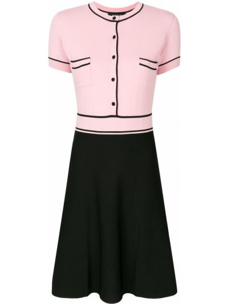 Розовое платье с манжетами с карманами с короткими рукавами Paule Ka