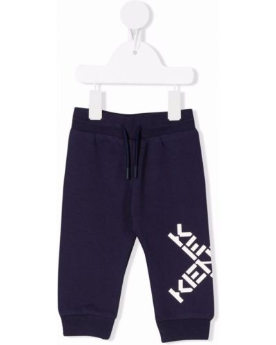 Niebieskie spodnie bawełniane Kenzo Kids