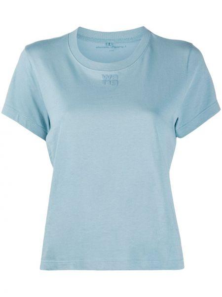 Хлопковая синяя прямая футболка с круглым вырезом T By Alexander Wang