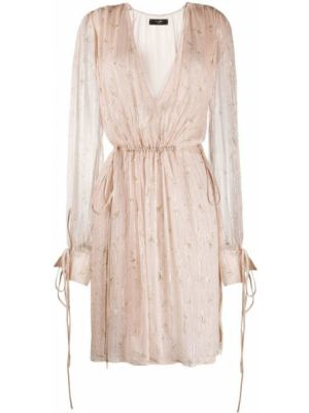 Шелковое платье с декольте свободного кроя эластичное Amiri