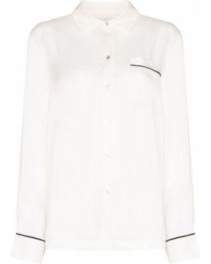Пижамная шелковая белая рубашка Asceno