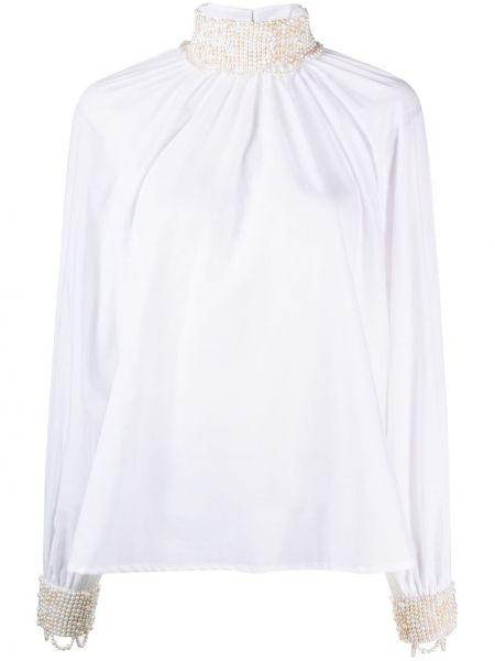Biała bluzka z długimi rękawami bawełniana Wandering