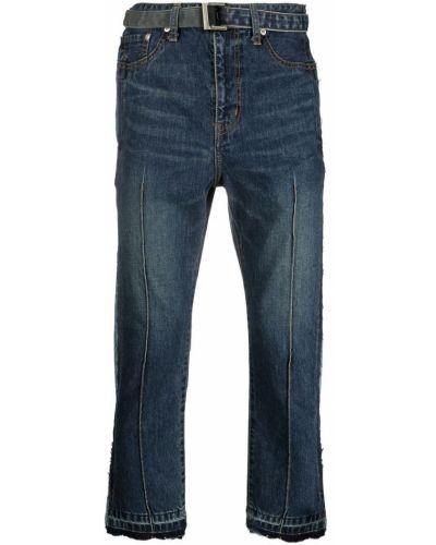 Klasyczne niebieskie jeansy z paskiem Sacai