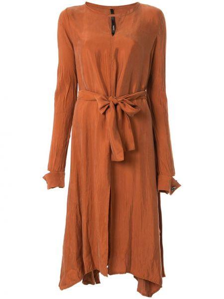 Коричневое с рукавами платье миди с вырезом Taylor