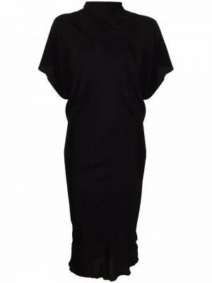 Sukienka długa krótki rękaw - czarna Rick Owens