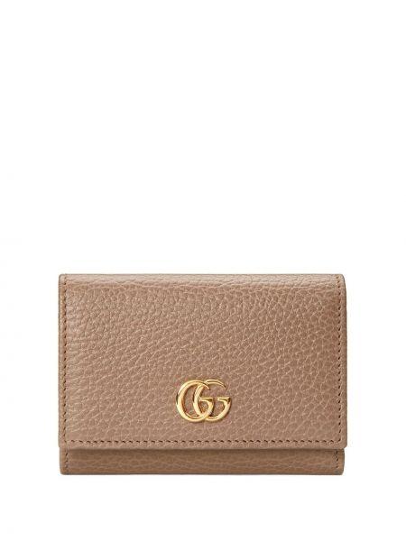 Różowy skórzany portfel z gniazdem Gucci