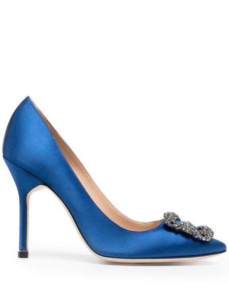 Кожаные синие туфли на шпильке на каблуке Manolo Blahnik