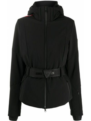 Прямая черная куртка с капюшоном с нашивками на молнии Rossignol