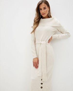 Бежевое вязаное платье Love Republic
