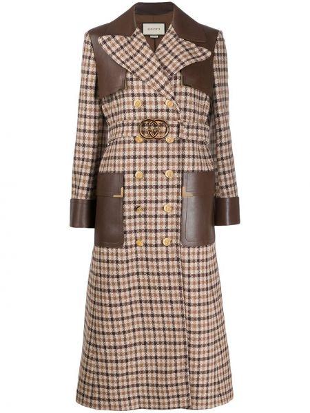 Długi płaszcz wełniany skórzany Gucci