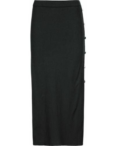 Вязаная юбка на пуговицах черная Bonprix
