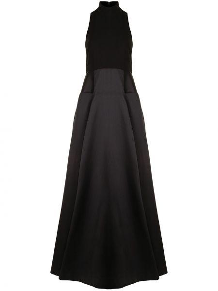 Расклешенное черное платье макси без рукавов Solace London