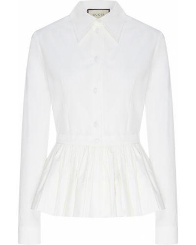 Блузка с длинным рукавом с баской белая Gucci