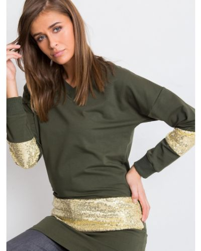 Tunika z cekinami - khaki Fashionhunters