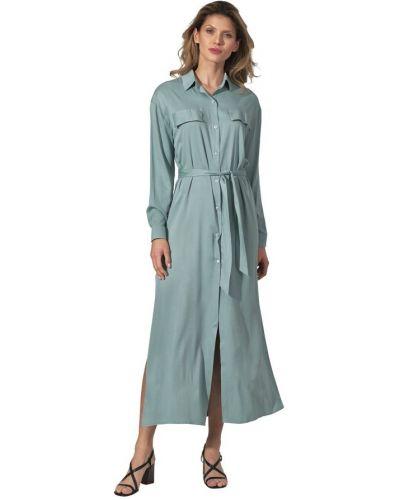 Niebieska sukienka długa z długimi rękawami Figl