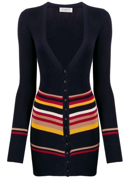 Синее пальто на пуговицах в рубчик Victoria Beckham
