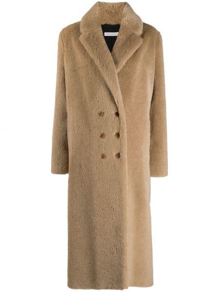 Коричневое длинное пальто из альпаки двубортное Inès & Maréchal