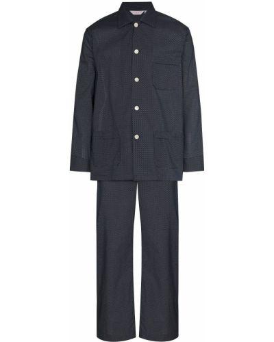 Niebieska piżama dwuczęściowa bawełniana z długimi rękawami Derek Rose