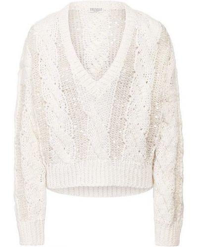 Хлопковый белый пуловер с V-образным вырезом свободного кроя Brunello Cucinelli