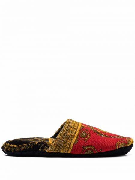 Красные слиперы с принтом без каблука Versace