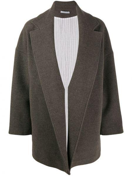 Długa kurtka khaki wełniana z długimi rękawami Dusan